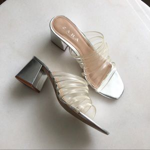 Zara Silver Mule Sandals with Clear Straps
